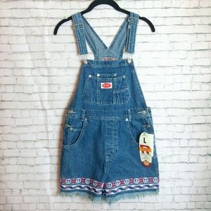 [NWT + VINTAGE!] 90's peace sign denim overalls